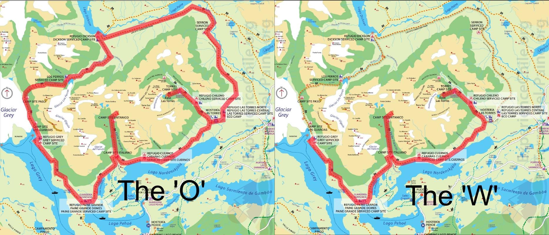 Circuito W Torres Del Paine Mapa : O inesquecível parque torres del paine terra adentro